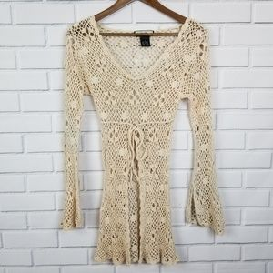 GAS Sweater BOHO Long Sleeve Knit Lace Sweater